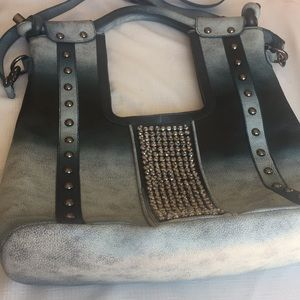 Shades of Blue ShoulderBag Gorgeous Crystals&Beads